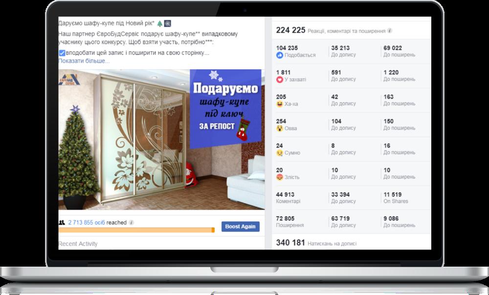 Просування меблів у Facebook